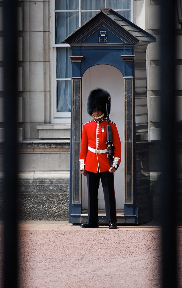 Paul Berube standing guard at Buckingham Palace